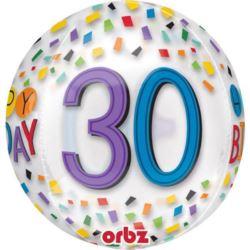"""balony, balony na hel, dekoracje balonowe, balony Łódź, balony z nadrukiem, Balon foliowy Orbz na """"30- te urodziny"""" 38x40 cm"""