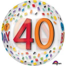 """Balon foliowy Orbz na """"40-te urodziny"""" 38x40 cm"""