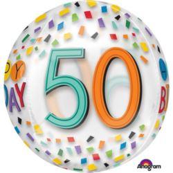 """balony, balony na hel, dekoracje balonowe, balony Łódź, balony z nadrukiem, Balon foliowy Orbz """"50-te urodziny"""" 38x40 cm"""