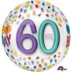 """balony, balony na hel, dekoracje balonowe, balony Łódź, balony z nadrukiem, Balon foliowy Orbz """"60 -te urodziny"""" 38x40 cm"""