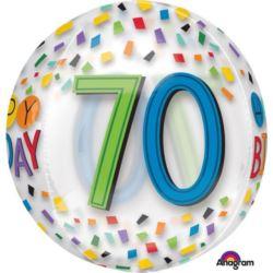 Balon foliowy Orbz 70- te urodziny Tęczowy