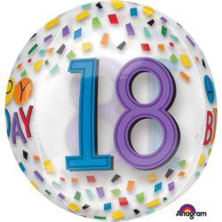 """Balon foliowy kula """"Happy Birthday 18""""- tęcza"""
