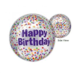 """balony, balony na hel, dekoracje balonowe, balony Łódź, balony z nadrukiem, Balon foliowy kula """"Happy Birthday Funfetti"""""""