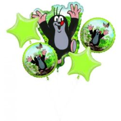 """balony, balony na hel, dekoracje balonowe, balony Łódź, balony z nadrukiem, Bukiet balonów """"Little Mole"""" 5 szt."""