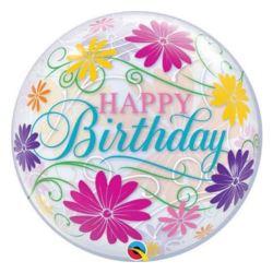 "Balon foliowy 22"" QL Bubble Poj. ""Happy Birthday"