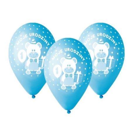 """balony, balony na hel, dekoracje balonowe, balony Łódź, balony z nadrukiem Balony Premium """"Moje 1 urodziny"""" nad. 1 kolor nieb"""