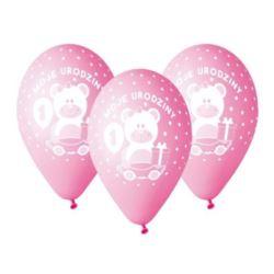 """balony, balony na hel, dekoracje balonowe, balony Łódź, balony z nadrukiem, Balony Premium """"Moje 1 urodziny"""" nad. 1 kol. róż"""