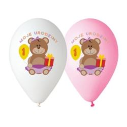 """balony, balony na hel, dekoracje balonowe, balony Łódź, balony z nadrukiem, Balony Premium """"Moje 1 Urodziny""""nad.kolor dziew."""