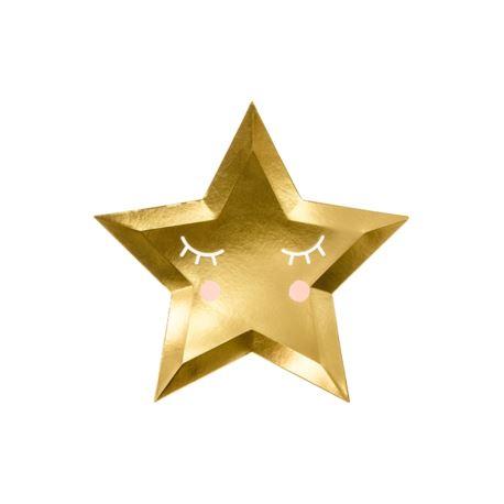 Talerzyki Little Star - Gwiazda, złoty, 27cm (6 sz
