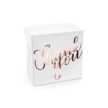 Image of Ozdobne pudełka na ciasto - Thank you, różowe złot