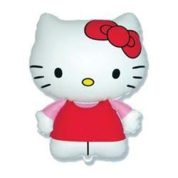 """balony, balony na hel, dekoracje balonowe, balony Łódź, balony z nadrukiem, Balon foliowy 14"""" FX - """"Hello Kitty (czerwona kok"""