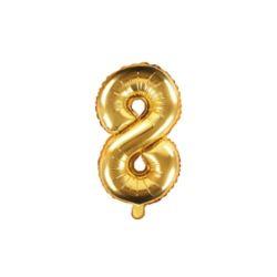 """Balon foliowy Cyfra """"8"""", 35cm, złoty"""