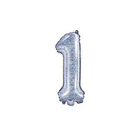 """balony, balony na hel, dekoracje balonowe, balony Łódź, balony z nadrukiem Balon foliowy Cyfra """"1"""", 35cm, holograficzny"""