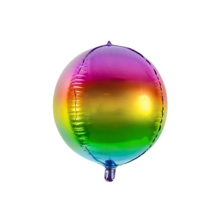 balony, balony na hel, dekoracje balonowe, balony Łódź, balony z nadrukiem Balon foliowy Kula tęczowa, 40cm