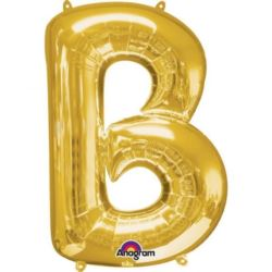 """Balon, foliowy literka mini """"B"""" 22x33 cm, złoty"""