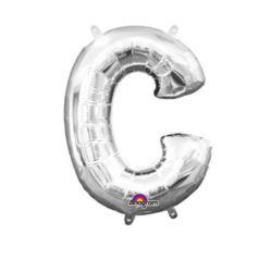 "Balon foliowy Literka Mini ""C"" -srebrna 22x33 cm"