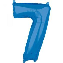 """Balon foliowy Cyfra """"7"""" Niebieska 66cm"""