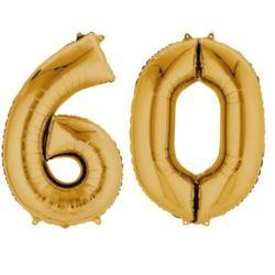 """Balony foliowe cyfry """"6 i 0"""" - złote"""