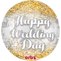 balony, balony na hel, dekoracje balonowe, balony Łódź, balony z nadrukiem, Balon foliowy Orbz Konfetti ślub przezroczyst