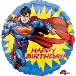 """balony, balony na hel, dekoracje balonowe, balony Łódź, balony z nadrukiem, """"Superman - HBD"""" balon foliowy"""
