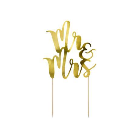 balony, balony na hel, dekoracje balonowe, balony Łódź, balony z nadrukiem Topper na tort Mr&Mrs w kolorze złota 25,5cm