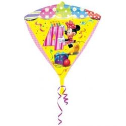 """balony, balony na hel, dekoracje balonowe, balony Łódź, balony z nadrukiem, Balon, foliowy diament Myszka Minnie """"4"""" 38x43 cm"""