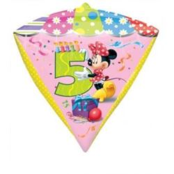 """balony, balony na hel, dekoracje balonowe, balony Łódź, balony z nadrukiem, Balon, foliowy diament Myszka Minnie """"5"""" 38x43 cm"""