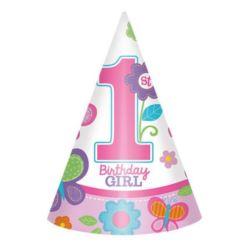 Czapeczki na 1 urodziny - dziewczynka 8 szt.