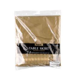 Falbana na boki stolu, plastik, zlota, 426 x 73 c