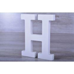 """Litery ozdobne, drewno 16 cm """"H"""" - biały, 1 szt."""