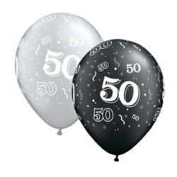 """Balon QL11"""" z nadr. """"50"""", srebrny i czarny 6 szt."""