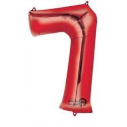 """Balon, foliowy cyfra """"7"""" czerwona 58x88 cm"""