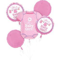 """balony, balony na hel, dekoracje balonowe, balony Łódź, balony z nadrukiem, Bukiet balonów """"Narodziny dziewczynki"""""""