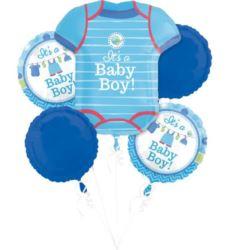 """balony, balony na hel, dekoracje balonowe, balony Łódź, balony z nadrukiem, Bukiet balonów """"Narodziny chłopczyka"""""""