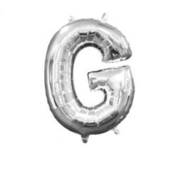 "Balon, foliowy literka mini ""G"" 22x33 cm, srebrna"