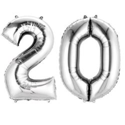 "Balony foliowe cyfry ""2 i 0"" - srebrne"