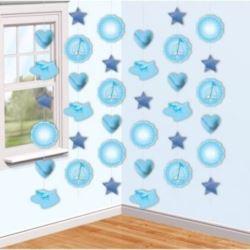 """balony, balony na hel, dekoracje balonowe, balony Łódź, balony z nadrukiem, Zestaw dekoracyjny wiszący """"Buciki"""" niebieski"""