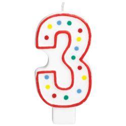 Swieczka urodzinowa cyferka 3 bialy & kropki