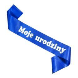 """balony, balony na hel, dekoracje balonowe, balony Łódź, balony z nadrukiem, Szarfa """"Moje Urodziny"""", granat"""