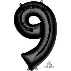"""Balon foliowy cyfra """"9"""", czarny 55x86 cm,"""