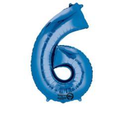 """Balon, foliowy Cyfra """"6"""" - niebieski 55x88 cm"""
