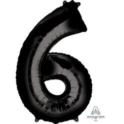 """Balon foliowy cyfra """"6"""", czarny 55x86 cm."""