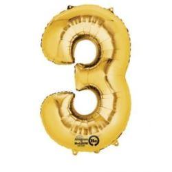 """Balon, foliowy cyferka mini """"3"""" 22x35 cm, złoty"""