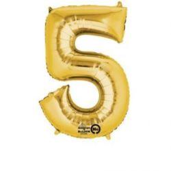 """Balon, foliowy Cyferka Mini """"5"""" 22x35 cm, złoty"""