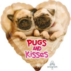 "Balon Foliowy ""Pugs & Kisses "" 43cm"