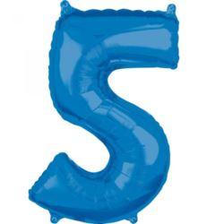 """Balon foliowy Cyfra """"5"""" Niebieska 66cm"""