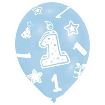 """Image of Balon 11"""" lateksowy z cyferką """"1"""" 27,5 cm 6 szt"""