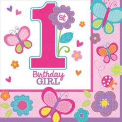 balony, balony na hel, dekoracje balonowe, balony Łódź, balony z nadrukiem, Serwetki 1 urodziny - dziewczynka 33x33 cm