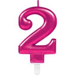 Swieczka cyferka 2 Sparkling Celebrations Pink