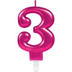 Swieczka cyferka 3 Sparkling Celebrations Pink